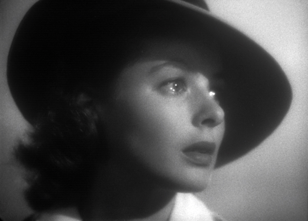Ingrid Bergman in the film Casablanca, teary-eyed and gazing into the distance