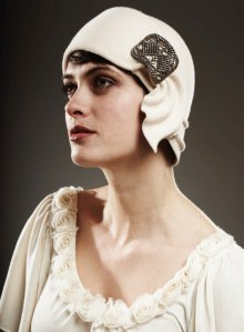 cream cloche with art deco hat buckle