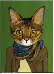 Cat in Suit painting.